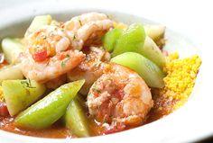Camarão ensopado com chuchu, prato do novo menu-degustação do Tordesilhas