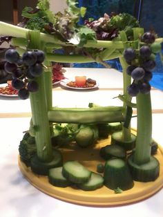 My own edible Sukkah.  Complete with a cucumber food tray held up by toothpicks on a celery stick! :P