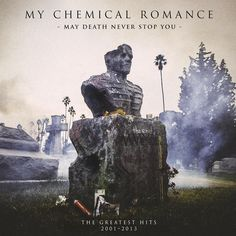 """CD cover design for My Chemical Romance: May Death Never Stop You: The Greatest Hits: 2001-2013. Cover art designed by Gerard Way, and revealed on his twitter. He also said there that """"the sculptor used a digital composite of everyone's face"""" for the statue."""