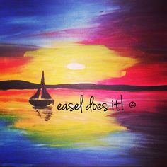 Sailboat www.easeldoesit.org #rainbow #colorful #sailboat #ocean #sunset #summer #bright #art #paint #paintparty #painting #creative #create #fun #inspiration #crafts #home #canvas #acrylic #colorful