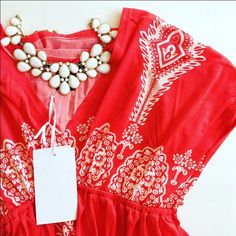 "NWT Handkerchief Dress Size M NEW WITH TAGS-- this polyester / spandex handkerchief style dress is silky smooth and will keep you cool all summer long! The tag says coral, but I would describe it as red / coral. 34"" long, v neckline and elastic at your natural waist. Size M, but probably on the S/M side. 5th & Love Dresses"