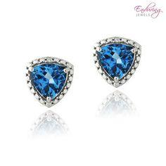 Sterling Silver 4ctw Genuine Triangle London Blue Topaz & Diamond Earrings at 70% Savings off Retail!