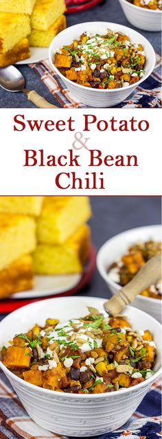 Looking for a tasty vegetarian chili? This Sweet Potato and Black Bean Chili is packed with flavor and perfect for a chilly Autumn day! Black Bean Chili, No Bean Chili, Best Chili Recipe, Chili Recipes, Chili Ingredients, Homemade Cornbread, Vegetarian Chili, Sweet Potato, Dinner Recipes