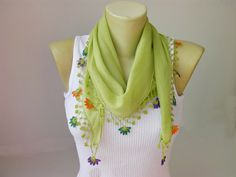 Hand crocheted lace scarf