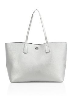 06bfee8e5df1 Tory Burch Perry Metallic Leather Tote - Silver - Size No Size Manu  Atelier