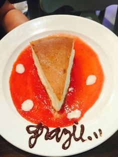 New York Style Cheesecake. Choco writing could improve