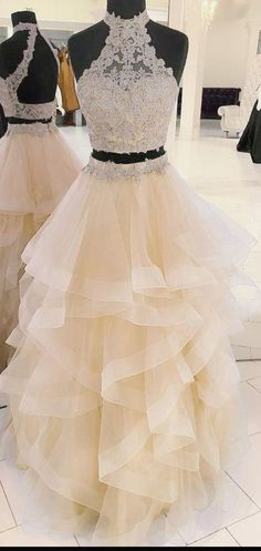 Two pieces champagne long prom dress applique formal evening dress am 1000 Lilac Prom Dresses, Glitter Prom Dresses, Pretty Quinceanera Dresses, Grey Prom Dress, Senior Prom Dresses, Prom Dresses For Teens, Unique Prom Dresses, Tulle Prom Dress, Prom Party Dresses