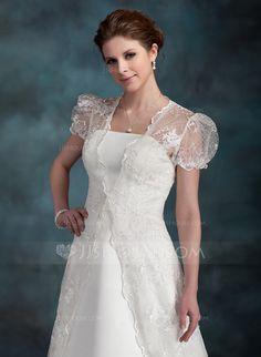 Wraps - $89.99 - Short Sleeve Lace Wedding Wrap (013022601) http://jjshouse.com/Short-Sleeve-Lace-Wedding-Wrap-013022601-g22601