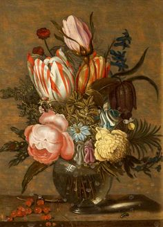 Ambrosius Bosschaert the Younger (1609-1645) —  Still Life with Flowers, 1630-1633 :Mompesson House,  Cathedral Close, Salisbury, Wiltshire.   England    (574x800)