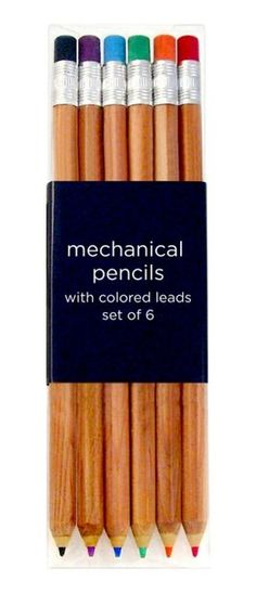 Add some extra flavor to your writing or sketching! Though they look like ordinary wooden pencils, these pencils are fully mechanical, offering a range of six bright colors to spur your creativity.