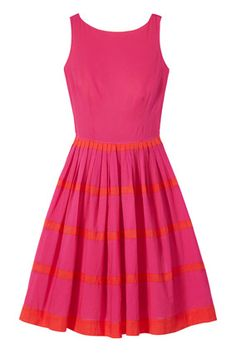 A full skirt and fun color combo will make this your go-to summer party dress.     Editor's Tip: Perfect for pear shapes!     $159; talbots.com