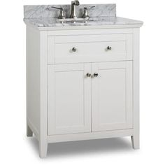 Jeffrey Alexander VAN105-30-T Chatham Shaker 30 Vanity Set with Wood Cabinet, Marble Top and One Undermount Sink