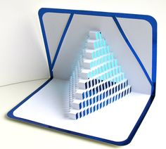 3D Pop Up STAIRS 2 LOVE With the Light Shines Through. Origamic Architecture of Geometric Intricate Cuts in White and Metallic Blue OoAK. $25.00, via Etsy.
