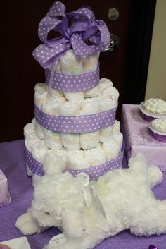 Purple polka dot baby shower centerpiece #purple #babyshower