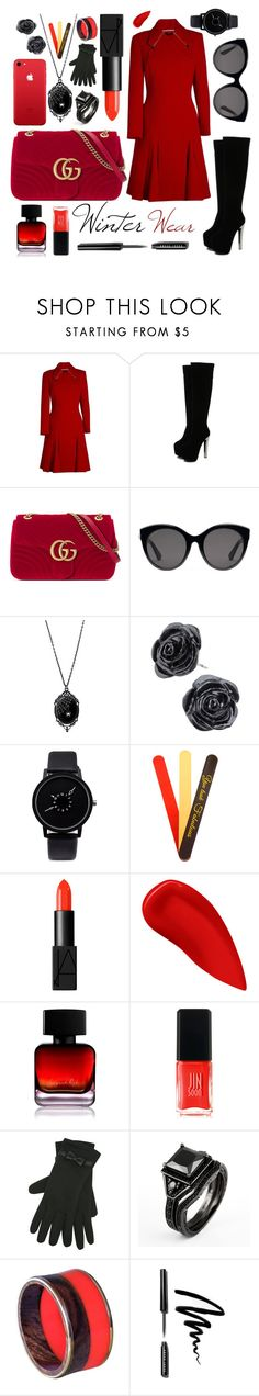 """""""Winter Wear"""" by rock-my-hillbilly ❤ liked on Polyvore featuring Roland Mouret, WithChic, Gucci, NARS Cosmetics, Lipstick Queen, The Collection by Phuong Dang, JINsoon, M&Co, Bobbi Brown Cosmetics and Winter"""