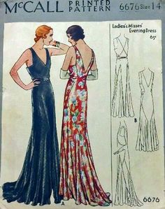 McCall 6676 | 1930s Evening Dress Pattern