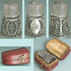 Antique English Sterling Silver Filigree Thimble in Leather Case Circa 1800 | eBay