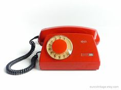 Vintage 70s Red Rotary Phone Dial Telephone Shiny by EuroVintage