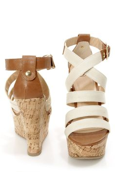 My Delicious Clean Beige and Tan Cotton Strappy Wedge Sandals