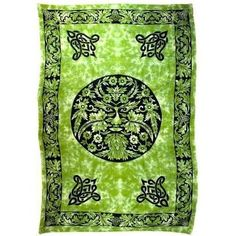 """Green and Black Green Man Tapestry 72"""" x 108"""""""