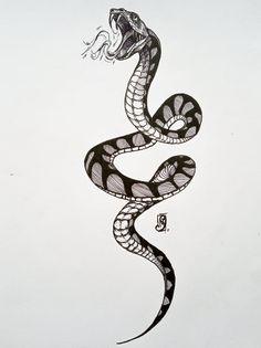 Zlecone - snake by on DeviantArt Dragon Tattoo Drawing, Snake Drawing, Medusa Tattoo, Snake Art, Snake Sketch, Mini Tattoos, Body Art Tattoos, New Tattoos, Small Tattoos
