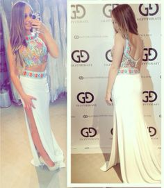 Sherri Hill 11168 two-piece Aztec Beading high-neckline open-back jersey! In-stock now @glitteratistyle