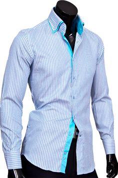 4187783a859 Бирюзовая приталенная мужская рубашка купить недорого в Москве
