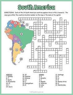 South America geography for kids: crossword puzzle worksheet of capitals and countries. Geography Worksheets, Geography Activities, Teaching Geography, Geography For Kids, Geography Map, World Geography, South America Map, South America Destinations, America Girl