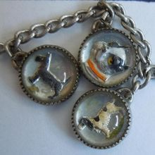 $499-Rubylane NINE Reverse Painted Intaglio Glass Bubble Charms - Dogs and Horses - Sterling Charm Bracelet