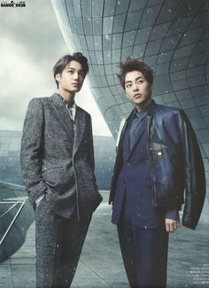 winter suits :: Kai and Xiumin of #Exo for The Celebrity, January 2015