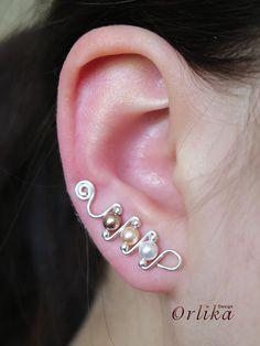 Ear pins ear sweeps ear vines Wire wrapped by Orlika on Etsy Wire Earrings, Bridal Earrings, Earrings Handmade, Ear Jewelry, Beaded Jewelry, Jewellery, Elf Ear Cuff, Ear Cuffs, Piercings