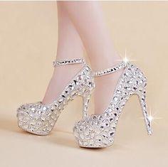 Calientes Zapatos elegantes de la boda nupcial del tobillo con tiras de cristal…