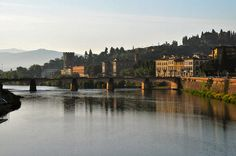 Arno River in the morning at sunrise