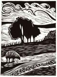 Welsh landscape relief print by Lorraine Tolmie. Linocut…