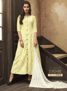 Light Yellow Muslin Readymade Kurti With Scarf 162361 Dhoti Salwar Suits, Salwar Suits Pakistani, Patiala, Fancy Party, Party Wear, Ethnic Fashion, Indian Fashion, Suit Fashion, Womens Fashion