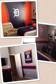 Detroit Tigers bedroom for the all time fan!! Detroit Tigers Baseball, Detroit Sports, Detriot Tigers, Tiger Painting, Kids Bedroom, Boy Bedrooms, Bedroom Decor, Bedroom Ideas, Room Themes