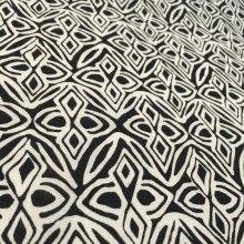 """Tissu de coton motif éthnique """"Bandama"""" - noir et blanc"""