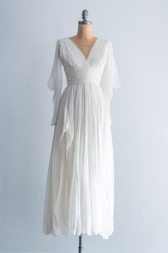 1960's Silk Pleated Grecian Dress
