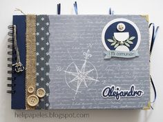 Heli Papeles ♥: Book of Signatures for the First Communion of a Child Mini Albums Scrap, Mini Scrapbook Albums, Diy Scrapbook, Decoration Communion, Memory Album, Nautical Party, Ideas Para Fiestas, First Holy Communion, Album Book