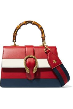 Red, navy and white leather (Calf) Push clasp-fastening front flap Designer color: Hibiscus Red This style is made with natural bamboo and as such may have small indentations Weighs approximately 3.5lbs/ 1.6kg Made in Italy