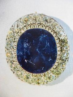 THE HISTORY OF SAPPHIRE OF EMPRESS MARIA, WIFE OF TSAR ALEXANDER II ~ One of the largest sapphires in the world. Alexander II purchased it at the exhibition of 1862 as a gift for his wife Maria.  Russian Imperial jewelers used it to create a brooch decorated with diamonds. After Maria's death the brooch remained in Russia.