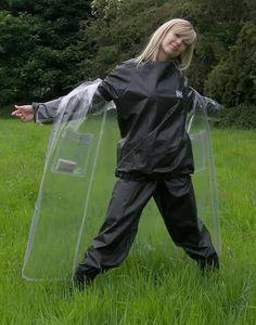 Raincoats For Women Rainy Days Red Raincoat, Raincoat Jacket, Rain Jacket, Nylons, Clear Raincoat, Plastic Raincoat, Vinyl Clothing, Plastic Pants, Ideas