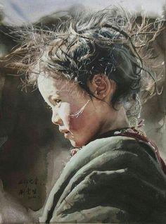 Best Watercolor Portraits By Famous Artists - Liu Yun Sheng Art Aquarelle, Art Watercolor, Watercolor Portraits, Watercolor Texture, Kunst Online, Guache, Famous Artists, Famous Watercolor Artists, Portrait Art