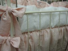 Washed Linen Nursery Bedding-Soft Pink and Vintage White-Baby Girl Crib Bedding Classics. $375.00, via Etsy.