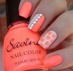 Since Polka dot Pattern are extremely cute & trendy, here are some Polka dot Nail designs for the season. Get the best Polka dot nail art,tips & ideas here. Orange Nail Designs, Nail Designs Spring, Nail Art Designs, Nails Design, Orange Design, Coral Design, Design Color, Dot Nail Art, Polka Dot Nails