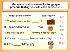 Printables Pronoun Antecedent Agreement Worksheet multiple choice quizes and sentences on pinterest