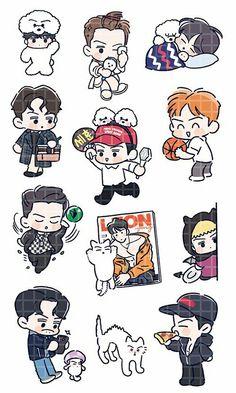 Sehun <credits to owner> Exo Stickers, Kawaii Stickers, Cute Stickers, Exo Cartoon, Chanbaek Fanart, 5 Years With Exo, Kpop, Chibi Wallpaper, Sehun And Luhan