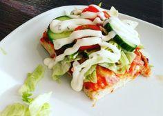 Hjemmelavet salatpizza (bradepande) - Mad For Fattigrøve Danish Food, 20 Min, Caprese Salad, Avocado Toast, Breakfast, Danish Recipes, Inspiration, Meat, Noodles