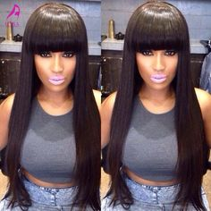 105.00$ Buy now - http://ali5bk.worldwells.pw/go.php?t=1000001866302 - Glueless Full Lace Human Hair Wigs With Bangs 7A Brazilian Straight Lace Front Human Hair Wigs Full Lace Wigs Straight Wig Bangs