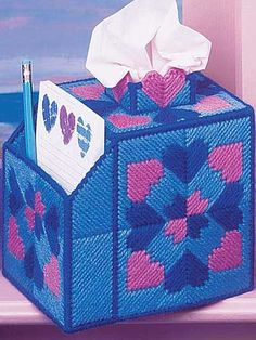 Plastic Canvas - Tissue Topper Patterns - Boutique-Style Patterns - Heart to Heart - Tissue Box